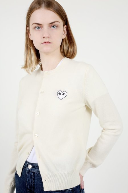 Comme des Garçons Play Ivory & White Patch Heart Cardigan