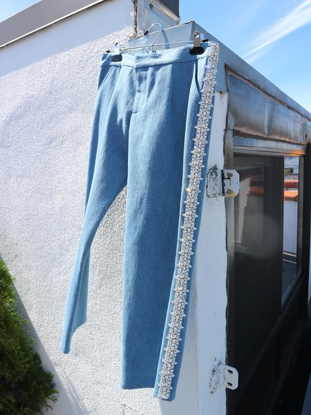 Collina Strada Rhinestone Interrupted Pant - Blue Denim