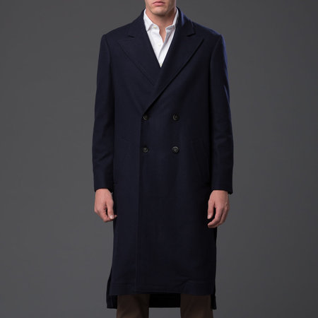 Carlos Campos Double-Breasted Overcoat - Navy