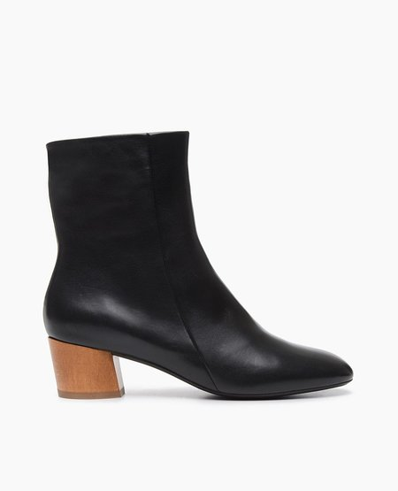 Coclico Cally Boot in Black Leather w/ Brown Heel