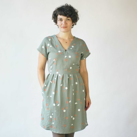 North of West,Make It Good Phases V Neck Dress in Sage