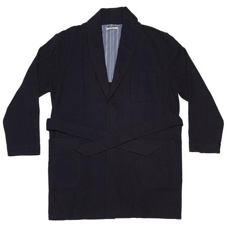 s.k. manor hill Smoking Robe - Navy Cotton/Wool