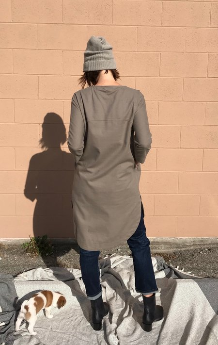 Black Crane New Painter Dress - Mud, Deep Olive and Black.