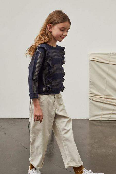 KIDS Polder Girl Cassis Top - Gold/Navy Stripe