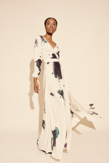 Kamperett Linden Hand Painted Silk Wrap Dress in Brush
