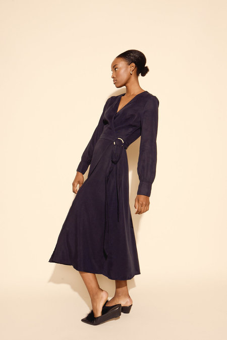 Kamperett Ellie Midi Wrap Dress in Midnight Navy