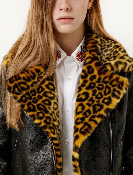 Shrimps Womens Maisie Biker Jacket - Yellow Leopard