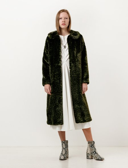 Shrimps Womens Patrick Coat - Moss Green Leopard