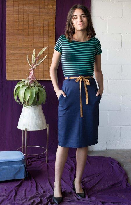 Cinder+Smoke Lola Dress - Green/Navy Stripes