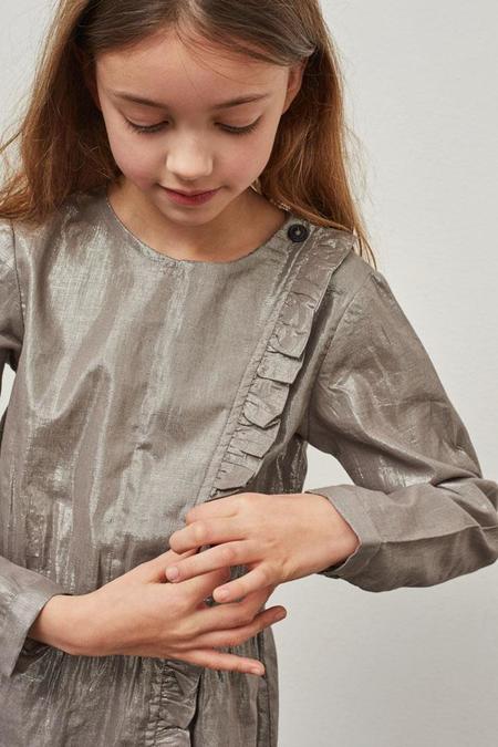 KIDS Polder Girl Celia Lurex Dress - Silver