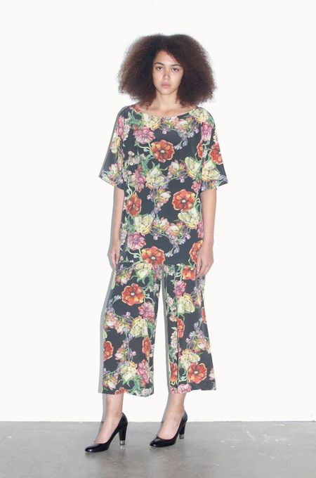 Strathcona Black Floral Culotte in Silk