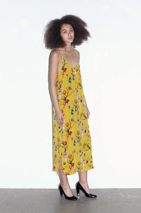 Strathcona Yellow Tulip Garden Silk Slip Dress