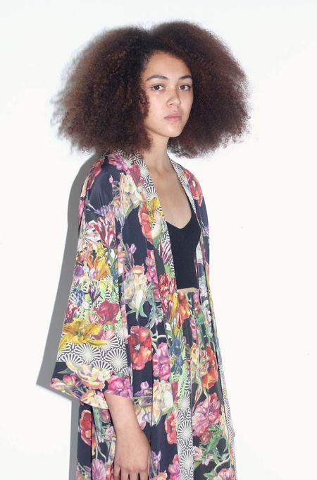 Strathcona Art Deco Tulip & Watercolour Bouquet Silk Kimono Robe - Online Only
