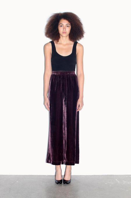 Strathcona Silk Velvet Purple Wide Leg Pant