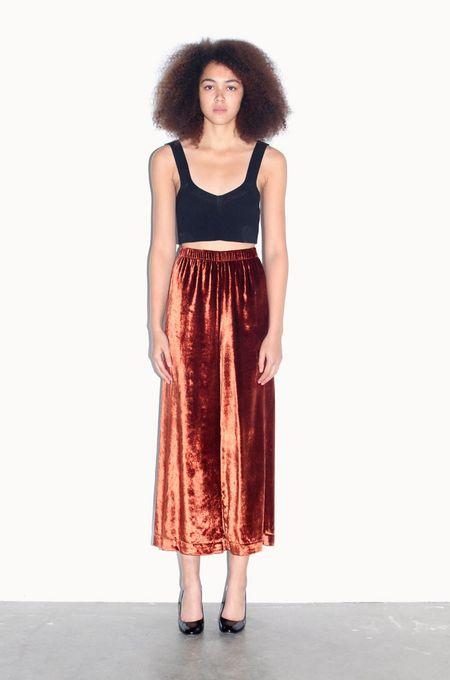 Strathcona Silk Velvet Red Rust Wide Leg Pant