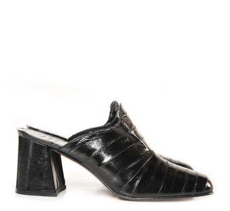 Trademark Black Eel Skin Mule
