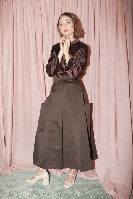 Wolcott : Takemoto Gladys Skirt in Clove Cotton Twill