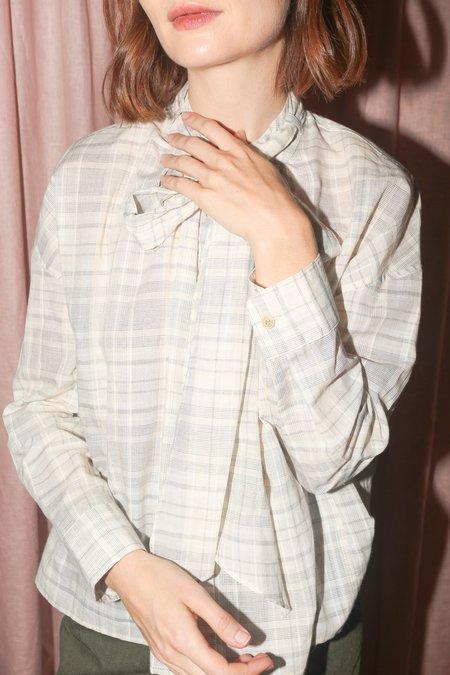 Caron Callahan Daisy Top in Ivory Yarn Dyed Japanese Plaid