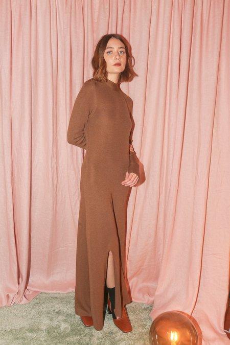 Nanushka Rib Knit Long Sleeve Dress in Brown
