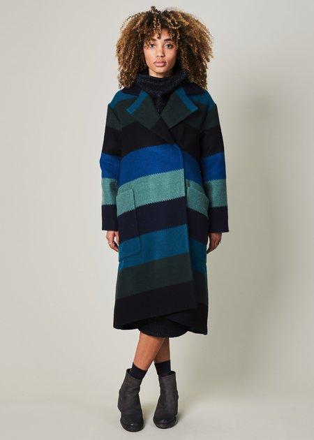 Odeeh Sea Stripe Wool Coat