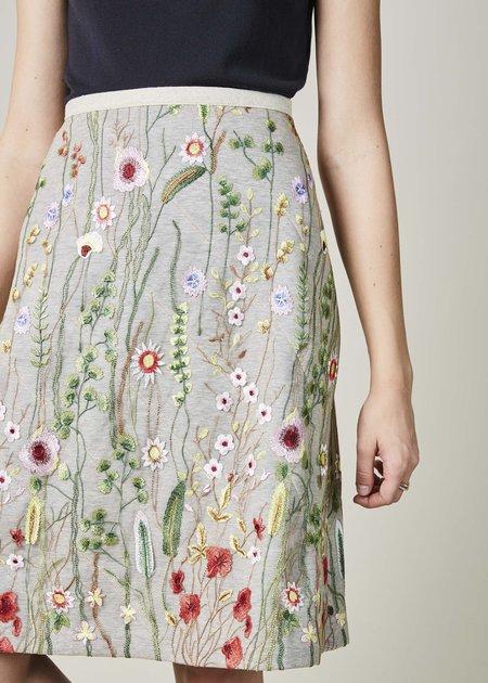Odeeh Embroidered Net Overlay Skirt - Tan