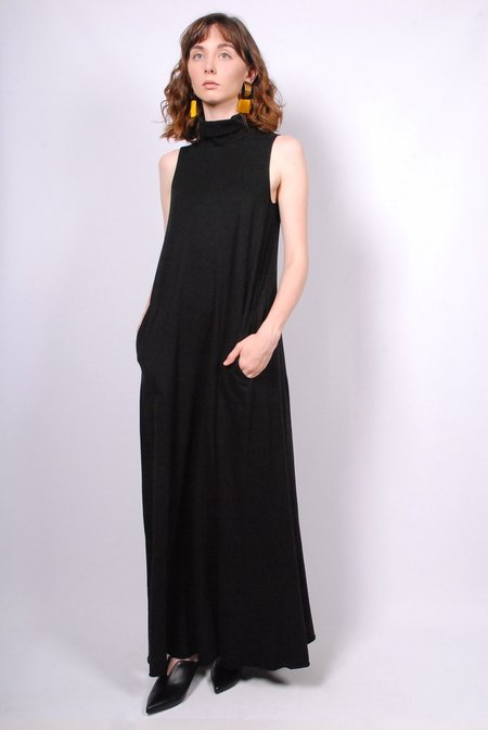 Raquel Allegra Sleeveless Turtleneck Maxi Dress - Black