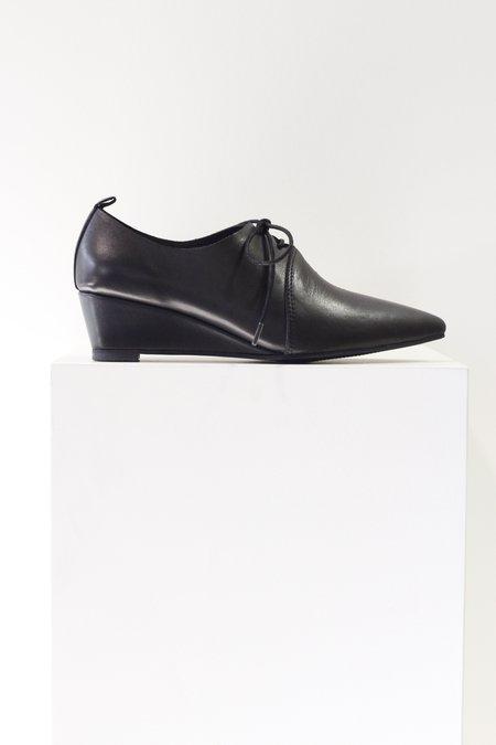 All Black Hi Tie Wedge Loafer