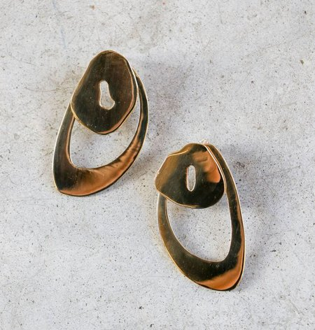 Modern Weaving Petal Ear Jackets in Polished Brass