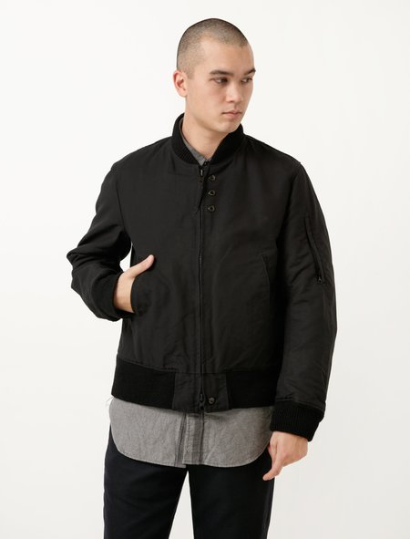Engineered Garments Aviator Jacket - Black Cotton Double Cloth