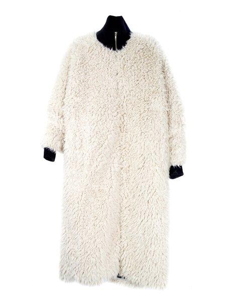 In God We Trust Blob Coat - Off White Fur