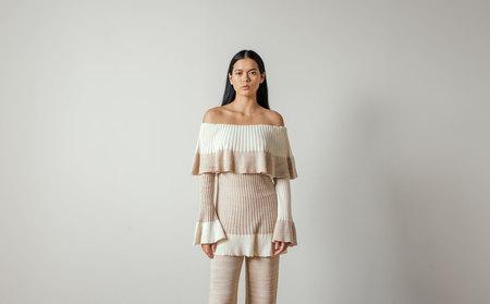 Maria Dora Cashmere Cotton Ruffle Tunic in Beige/Ivory
