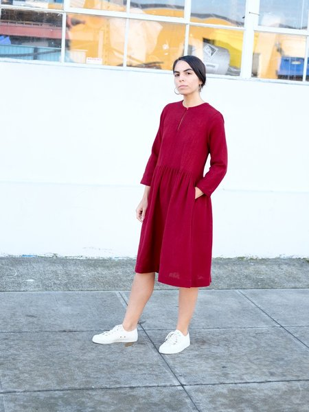 Wrk-Shp Studio Button Dress in Berry Wool