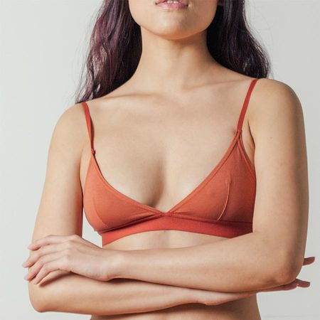 The Nude Label Triangle Bra in Rust