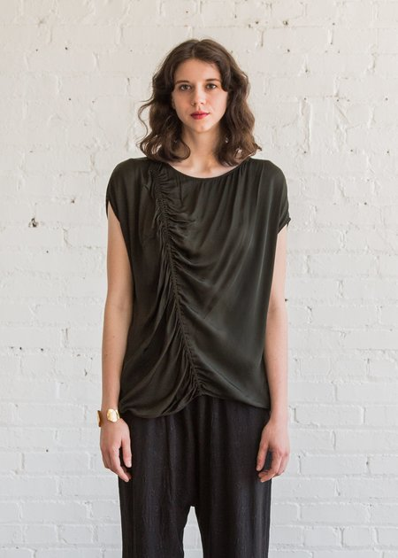 Raquel Allegra Gathered Boxy Top in Olive