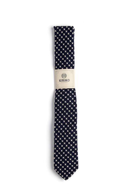 Kiriko Navy Sashiko Cross Tie