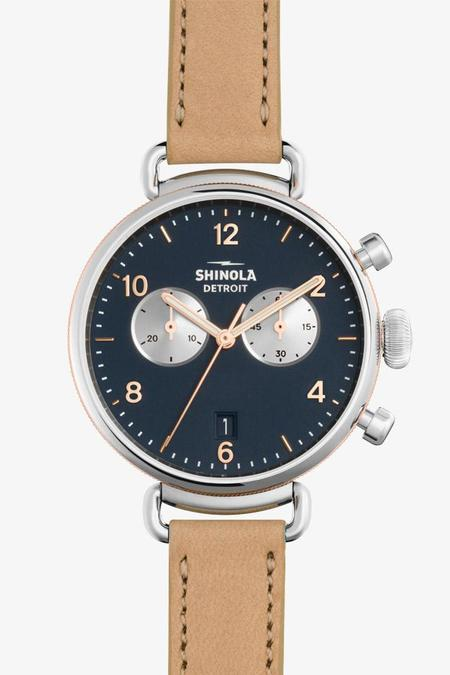 Shinola Canfield 38mm Chrono Watch in Midnight Blue/Natural