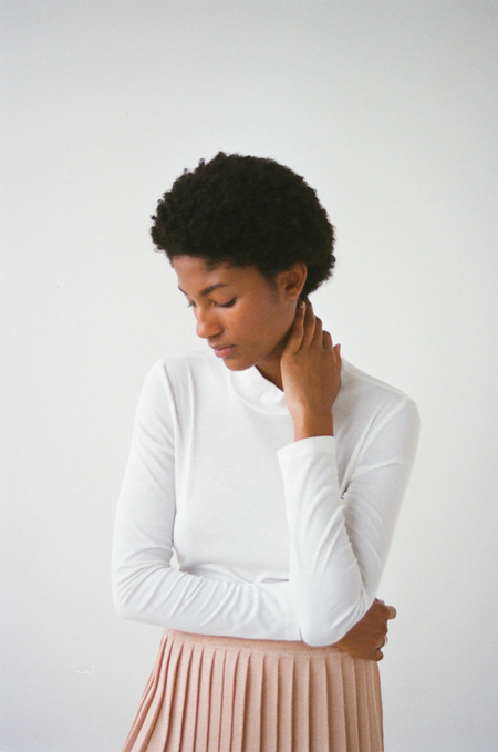 Waltz Supima Cotton Mock Neck in Ivory