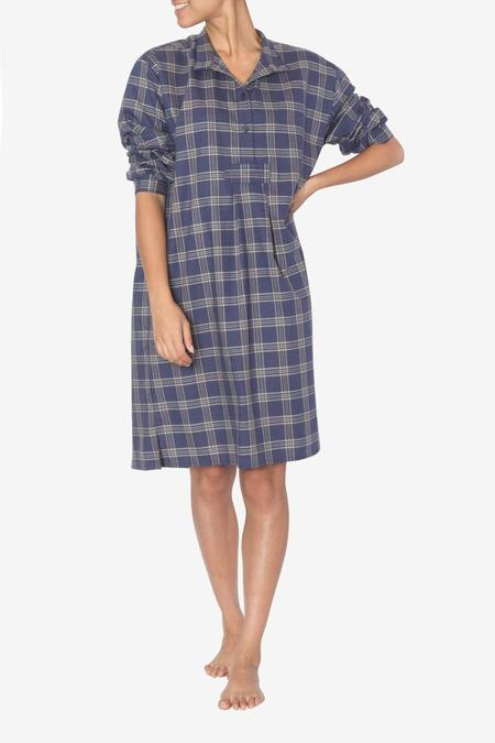 The Sleep Shirt Long Sleep Shirt Navy and Tan Plaid
