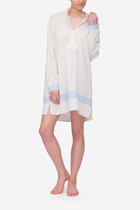 The Sleep Shirt Short Sleep Shirt Cream with Blue Linen Blend Contrast