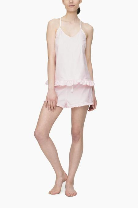 The Sleep Shirt Set Ruffle Camisole & Ruffle Short Pink Oxford Stripe