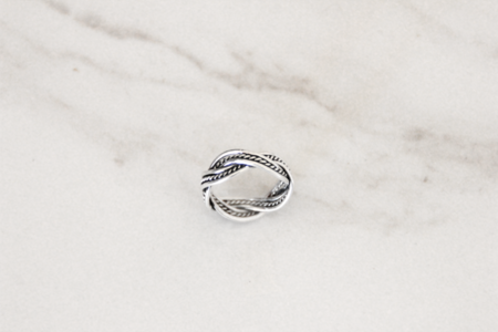 The Silver Stone Twisted Beaded Ring