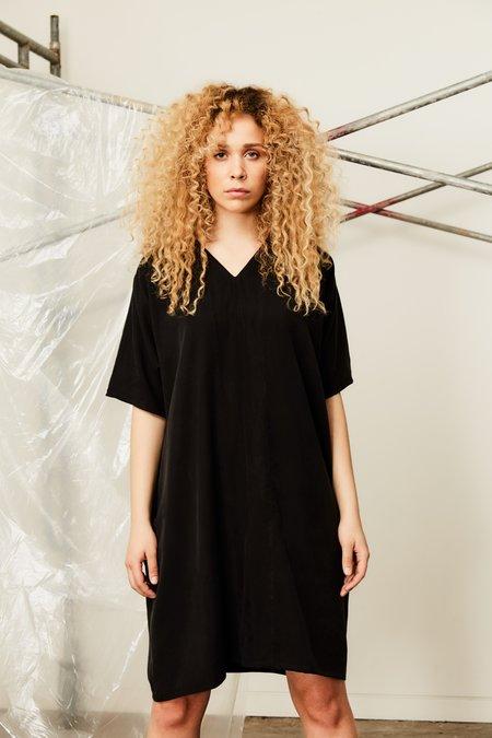 Devlyn Van Loon Placket Dress - Black Tencel