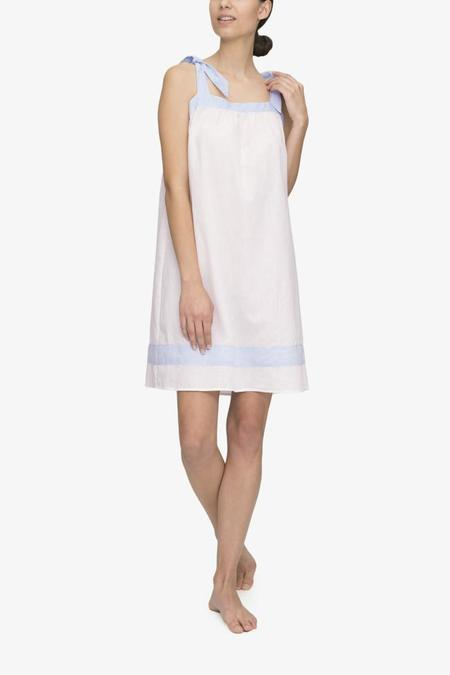 The Sleep Shirt Tie Nightie Cream with Blue Linen Blend Contrast