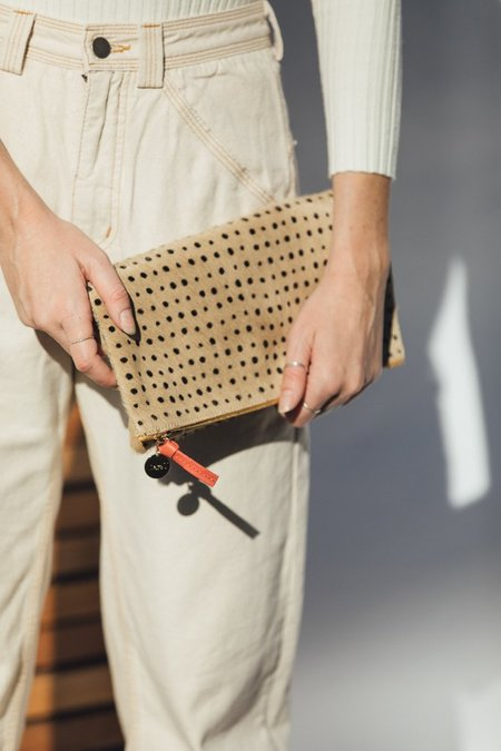 Clare V. Foldover Clutch - Tan Spotted