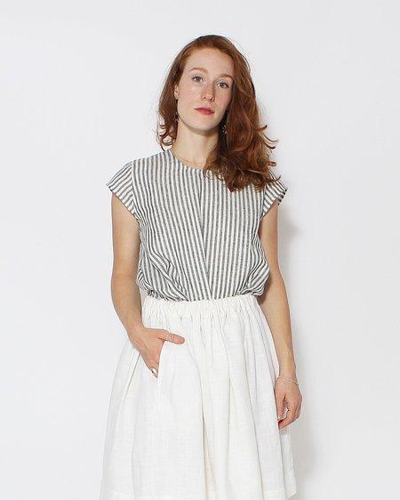 Le Vestiaire de Jeanne Short Sleeve Blouse - Light Stripe Linen