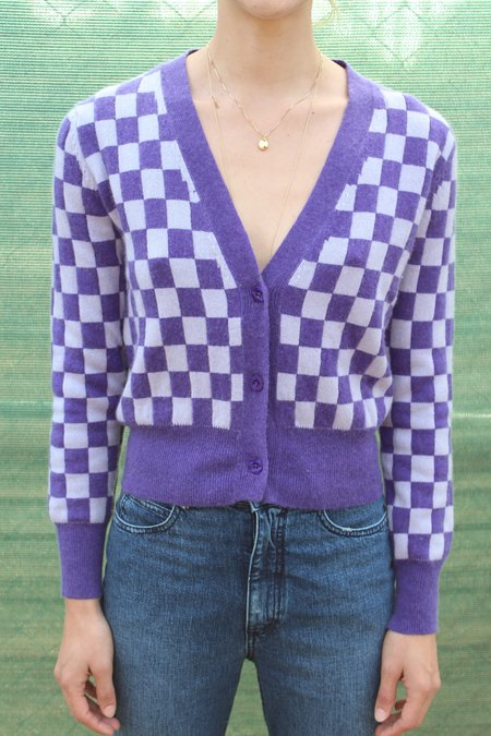 Beklina Cashmere Cardigan - Checkerboard Purple/Lilac