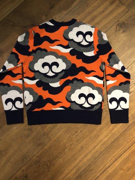 Cynthia & Xiao Classic Orange Cloud Intarsia Crewneck Sweater