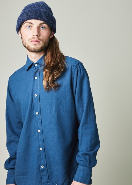 Tintoria Mattei 954 Contemporary Fit Wool Blend Shirt - Blue