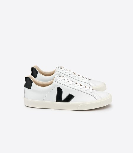 Veja Esplar Leather Low Logo White Black Sneaker