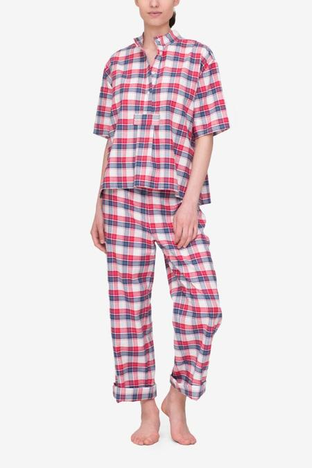 The Sleep Shirt Set - Short Sleeve Cropped Sleep Shirt and Lounge Pant Berry Plaid
